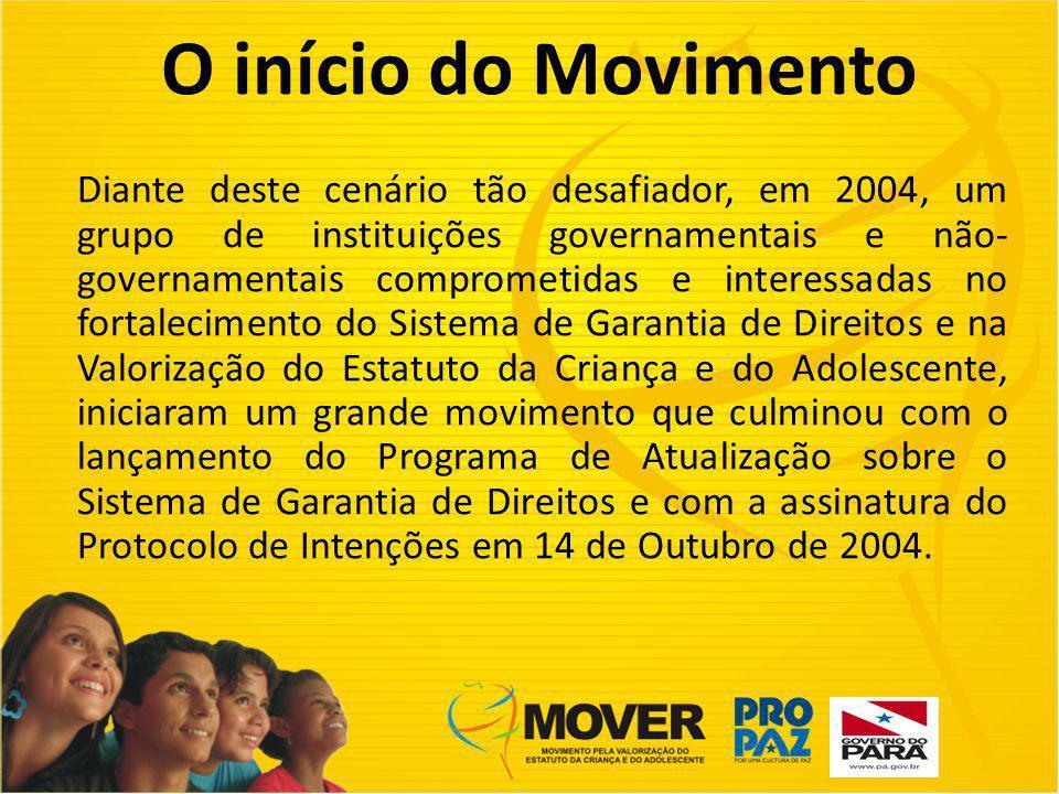 O início do Movimento Diante deste cenário tão desafiador, em 2004, um grupo de instituições governamentais e não- governamentais comprometidas e interessadas no fortalecimento do Sistema de Garantia de Direitos e na Valorização do Estatuto da Criança e do Adolescente, iniciaram um grande movimento que culminou com o lançamento do Programa de Atualização sobre o Sistema de Garantia de Direitos e com a assinatura do Protocolo de Intenções em 14 de Outubro de 2004.