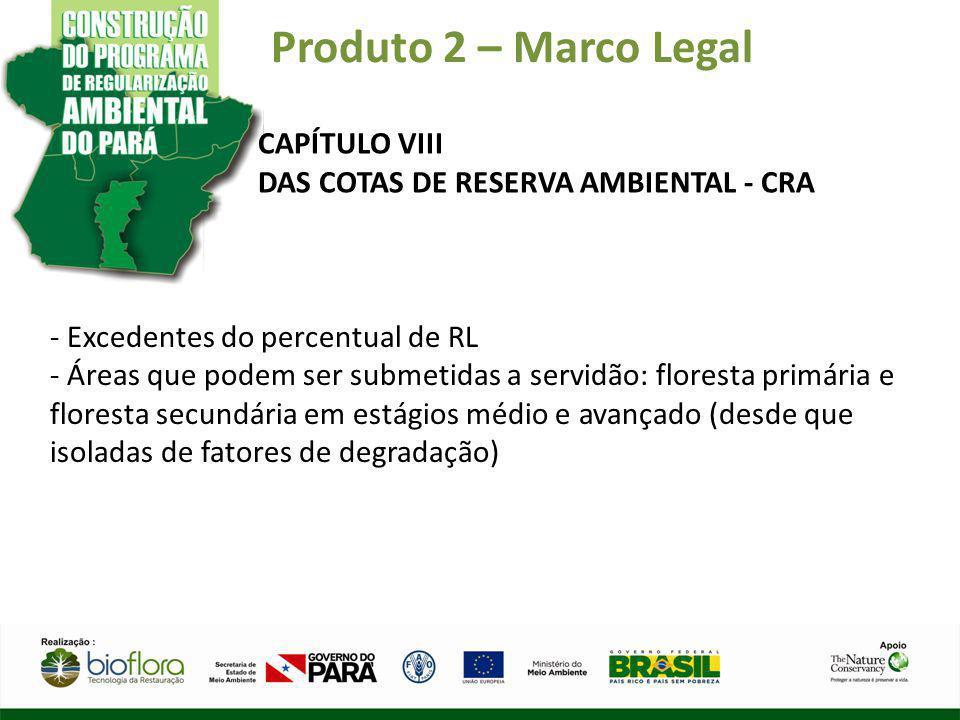Produto 2 – Marco Legal CAPÍTULO VIII DAS COTAS DE RESERVA AMBIENTAL - CRA - Excedentes do percentual de RL - Áreas que podem ser submetidas a servidã