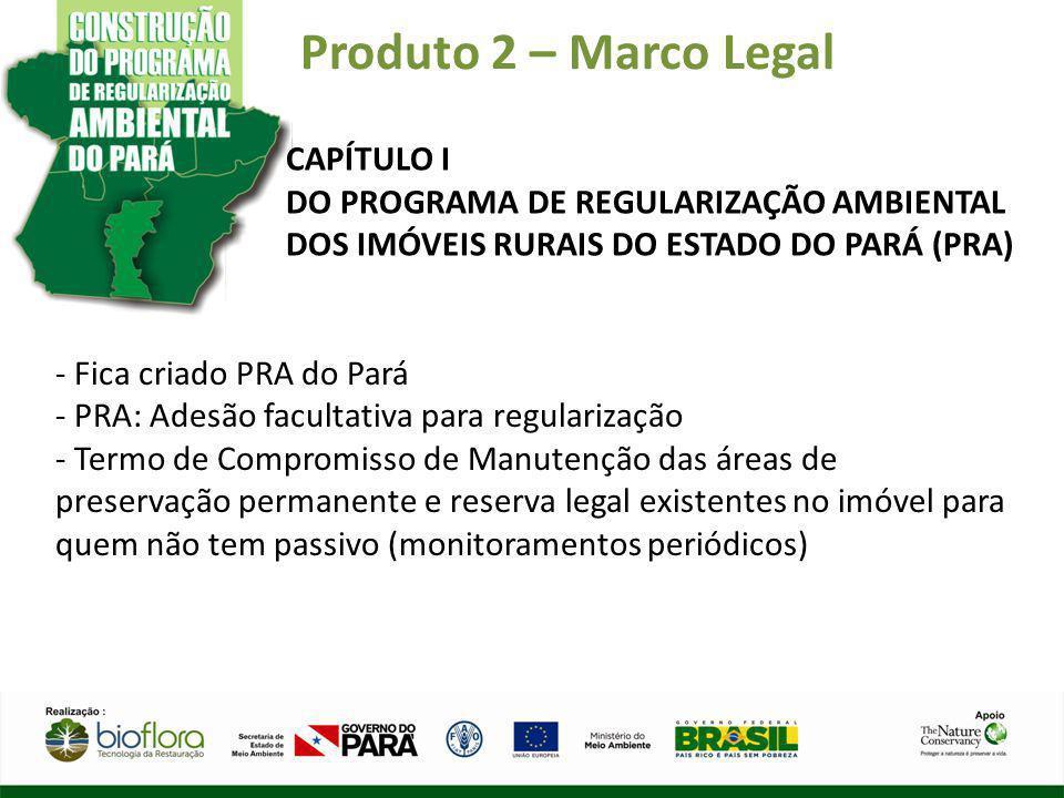 Produto 2 – Marco Legal CAPÍTULO I DO PROGRAMA DE REGULARIZAÇÃO AMBIENTAL DOS IMÓVEIS RURAIS DO ESTADO DO PARÁ (PRA) - Fica criado PRA do Pará - PRA: