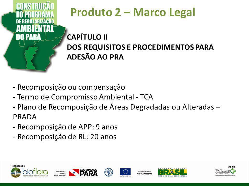 Produto 2 – Marco Legal CAPÍTULO II DOS REQUISITOS E PROCEDIMENTOS PARA ADESÃO AO PRA - Recomposição ou compensação - Termo de Compromisso Ambiental -