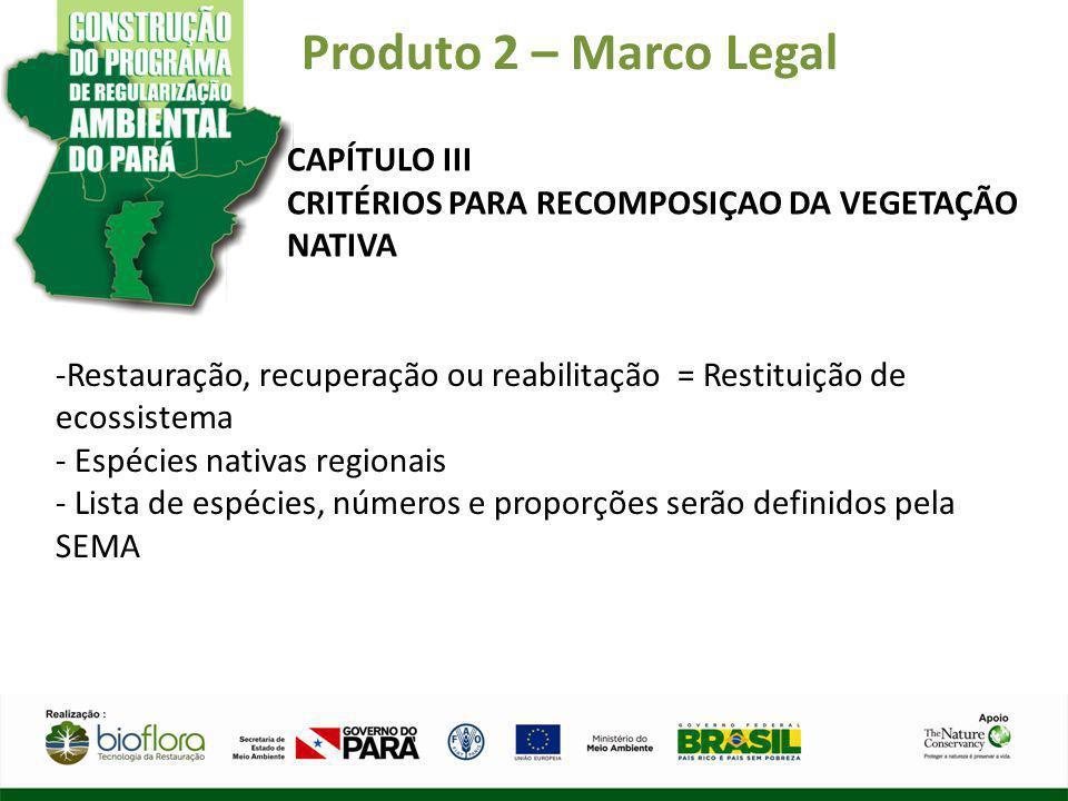 Produto 2 – Marco Legal CAPÍTULO III CRITÉRIOS PARA RECOMPOSIÇAO DA VEGETAÇÃO NATIVA -Restauração, recuperação ou reabilitação = Restituição de ecossi