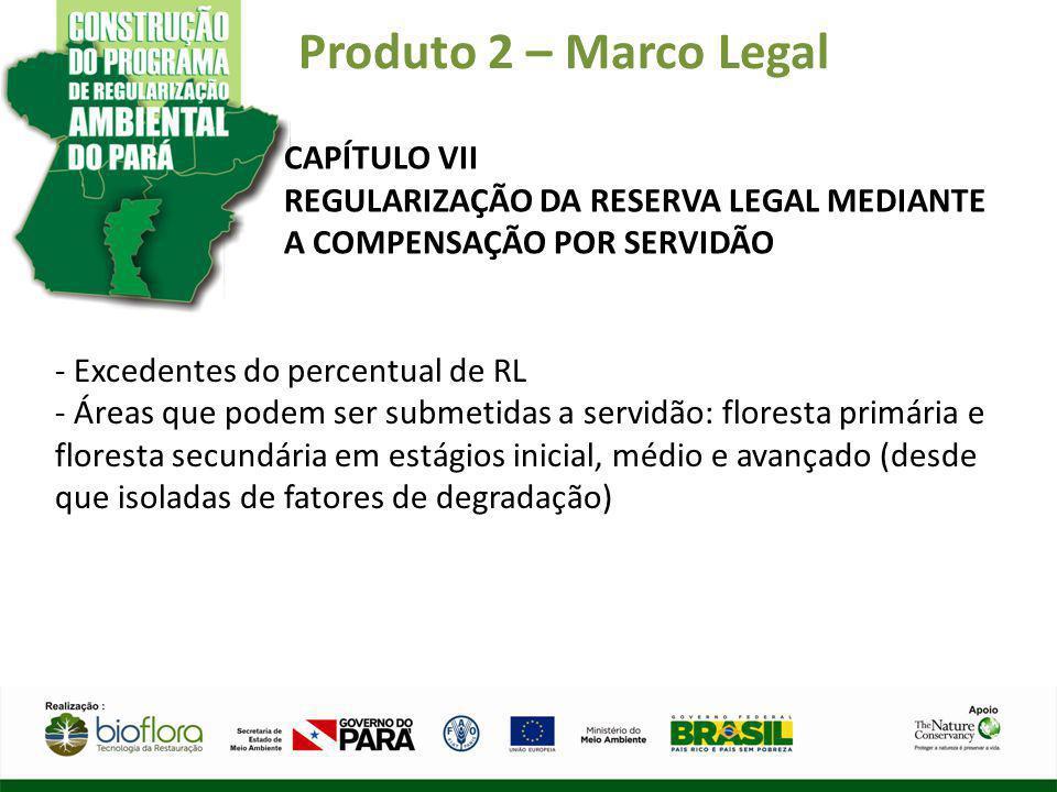 Produto 2 – Marco Legal CAPÍTULO VII REGULARIZAÇÃO DA RESERVA LEGAL MEDIANTE A COMPENSAÇÃO POR SERVIDÃO - Excedentes do percentual de RL - Áreas que p