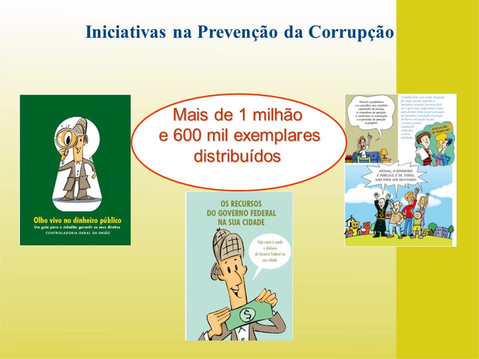 Mais de 1 milhão e 600 mil exemplares distribuídos e 600 mil exemplares distribuídos Iniciativas na Prevenção da Corrupção