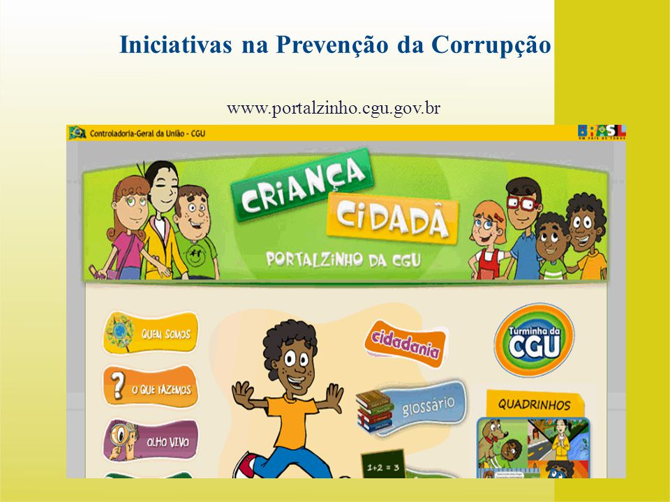 www.portalzinho.cgu.gov.br Iniciativas na Prevenção da Corrupção