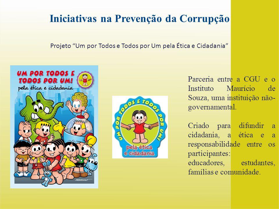 Parceria entre a CGU e o Instituto Maurício de Souza, uma instituição não- governamental. Criado para difundir a cidadania, a ética e a responsabilida
