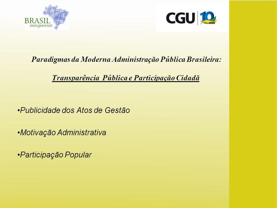Paradigmas da Moderna Administração Pública Brasileira: Transparência Pública e Participação Cidadã Publicidade dos Atos de Gestão Motivação Administr