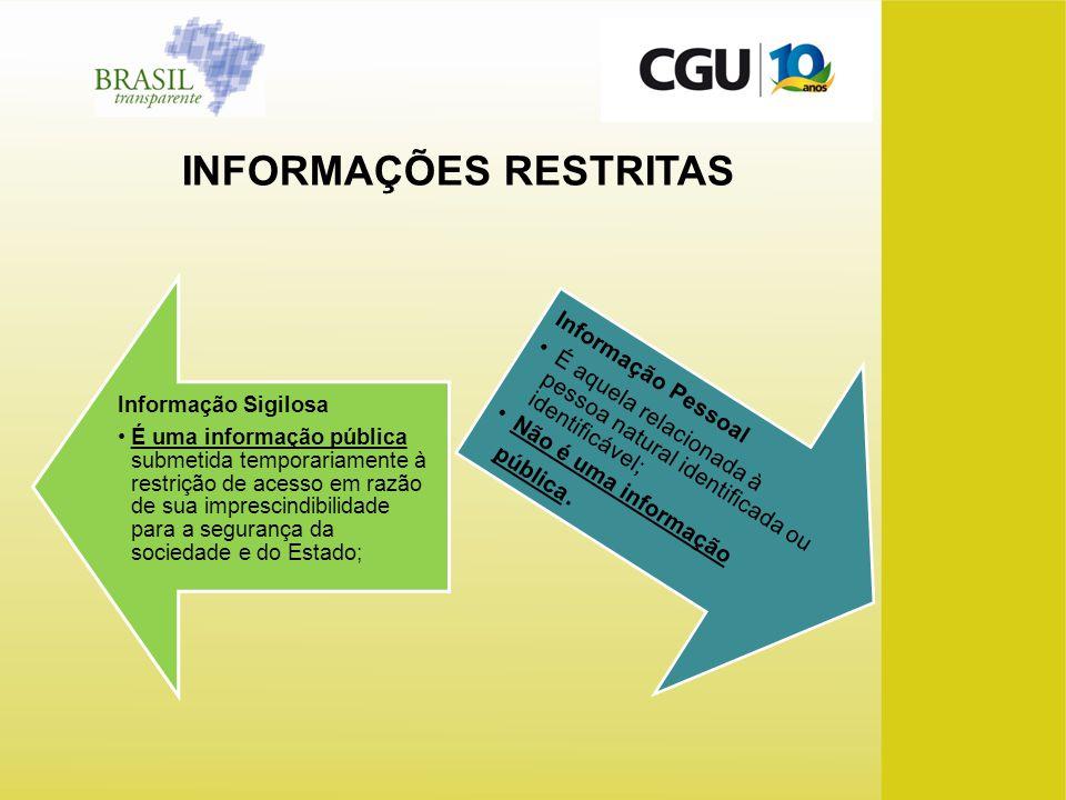 Informação Sigilosa É uma informação pública submetida temporariamente à restrição de acesso em razão de sua imprescindibilidade para a segurança da s