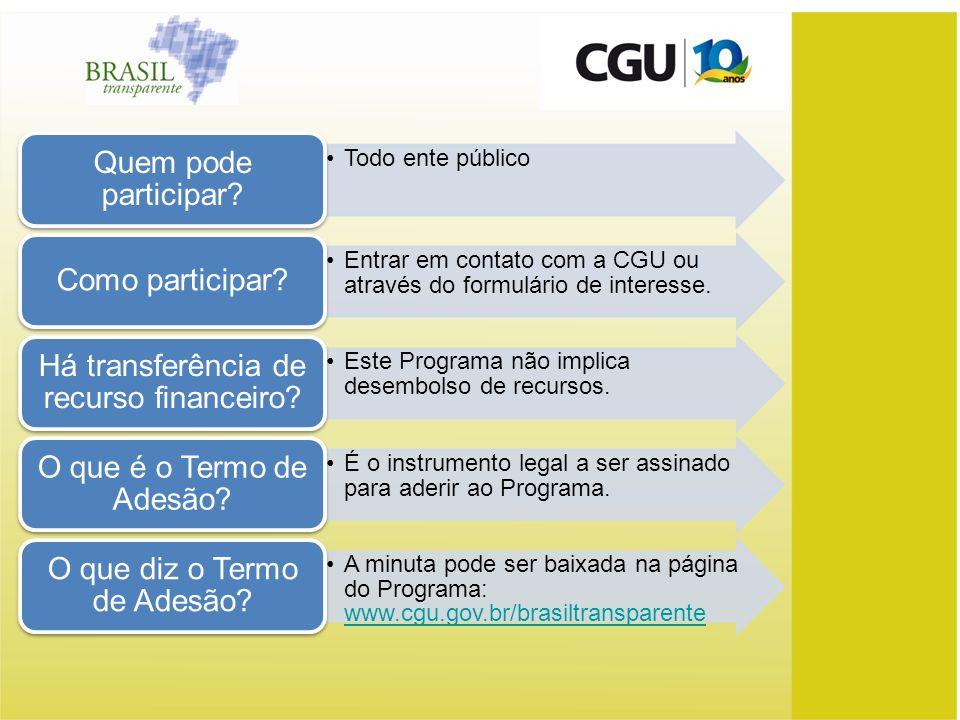 Todo ente público Quem pode participar? Entrar em contato com a CGU ou através do formulário de interesse. Como participar? Este Programa não implica