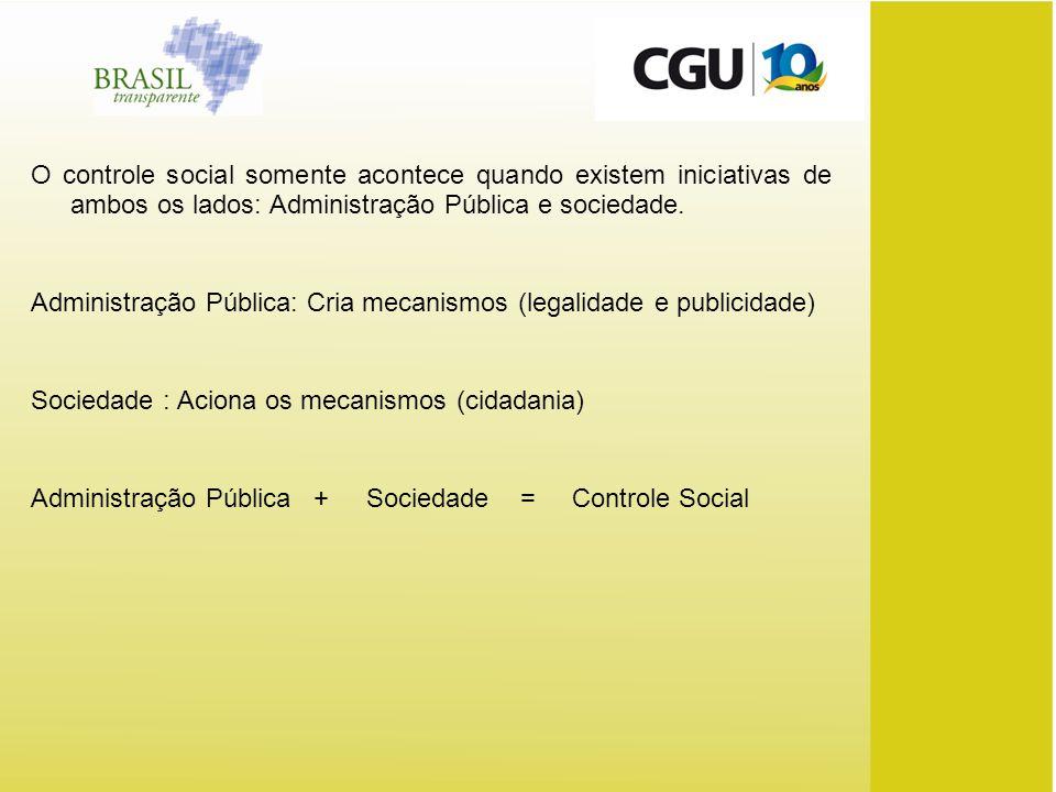 O controle social somente acontece quando existem iniciativas de ambos os lados: Administração Pública e sociedade. Administração Pública: Cria mecani
