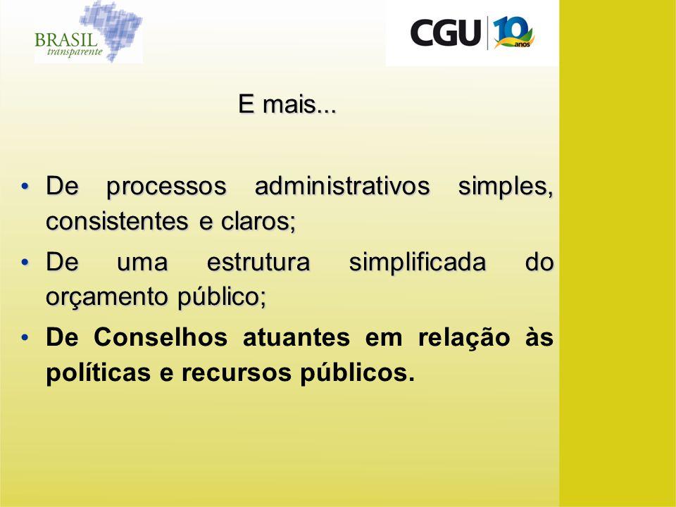 E mais... De processos administrativos simples, consistentes e claros; De processos administrativos simples, consistentes e claros; De uma estrutura s