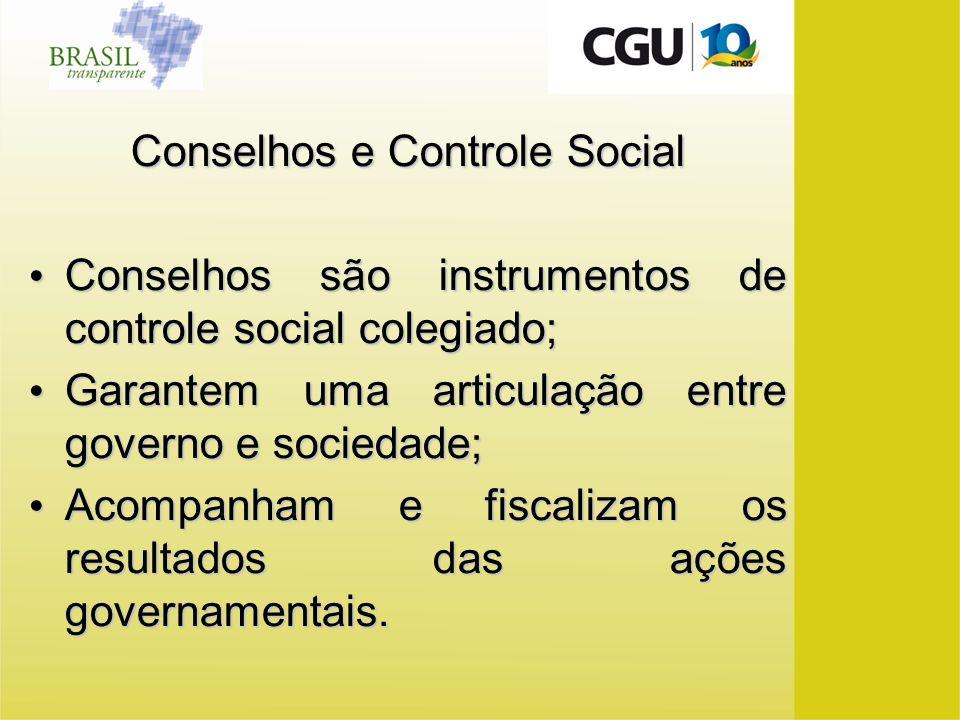 Conselhos e Controle Social Conselhos são instrumentos de controle social colegiado; Conselhos são instrumentos de controle social colegiado; Garantem