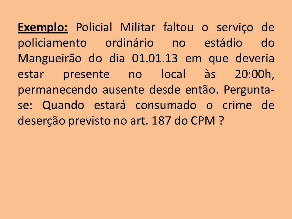Exemplo: Policial Militar faltou o serviço de policiamento ordinário no estádio do Mangueirão do dia 01.01.13 em que deveria estar presente no local à