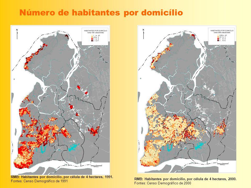 Número de habitantes por domicílio RMB: Habitantes por domicílio, por célula de 4 hectares, 1991. Fontes: Censo Demográfico de 1991 RMB: Habitantes po