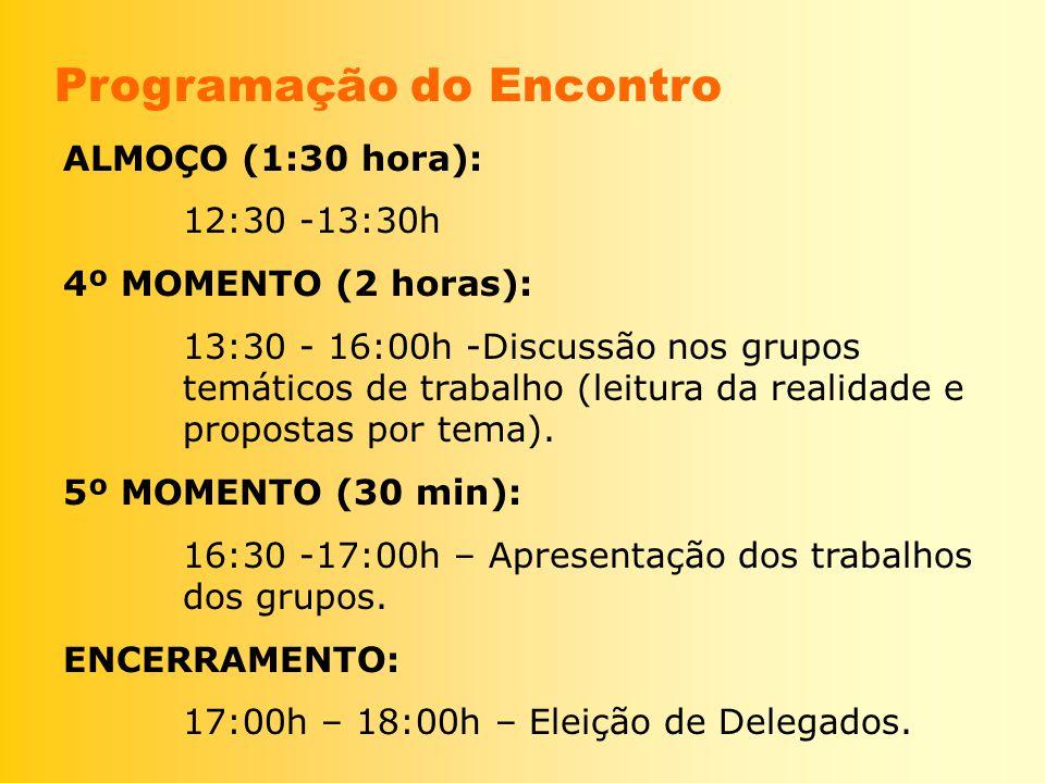 ALMOÇO (1:30 hora): 12:30 -13:30h 4º MOMENTO (2 horas): 13:30 - 16:00h -Discussão nos grupos temáticos de trabalho (leitura da realidade e propostas p