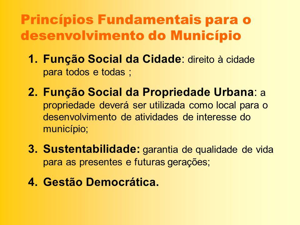 Princípios Fundamentais para o desenvolvimento do Município 1.Função Social da Cidade: direito à cidade para todos e todas ; 2.Função Social da Propri