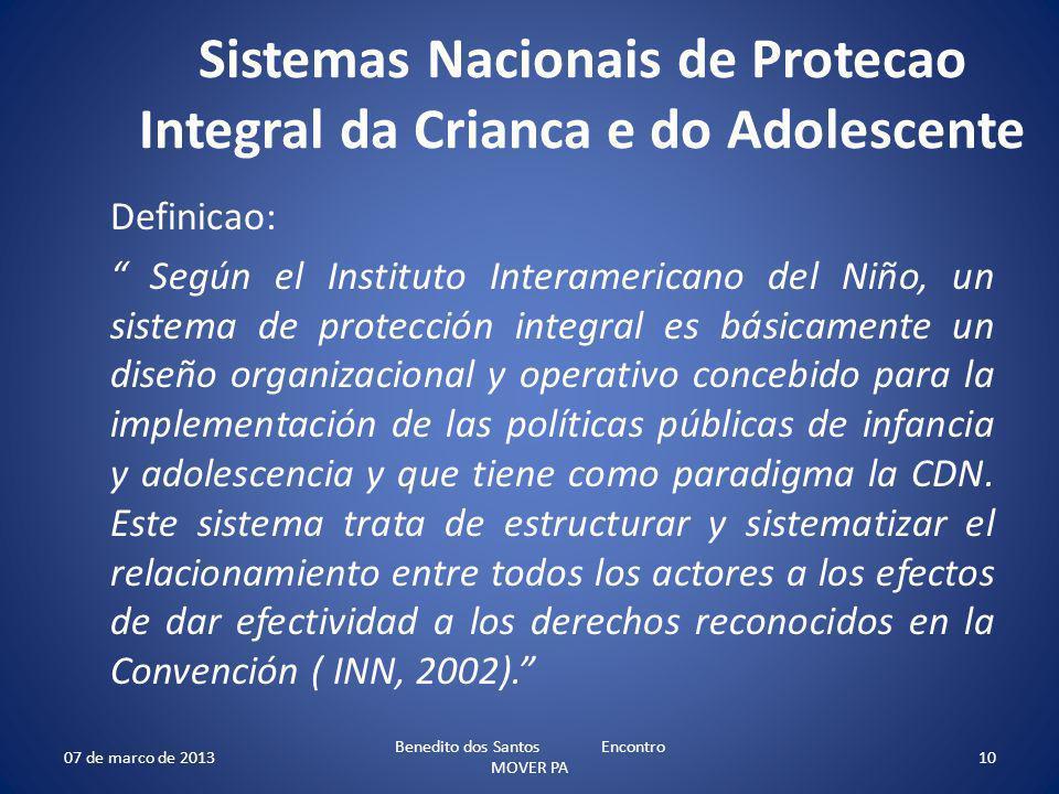 Sistemas Nacionais de Protecao Integral da Crianca e do Adolescente Definicao: Según el Instituto Interamericano del Niño, un sistema de protección in