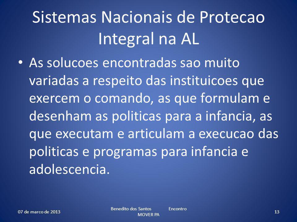 Sistemas Nacionais de Protecao Integral na AL As solucoes encontradas sao muito variadas a respeito das instituicoes que exercem o comando, as que for