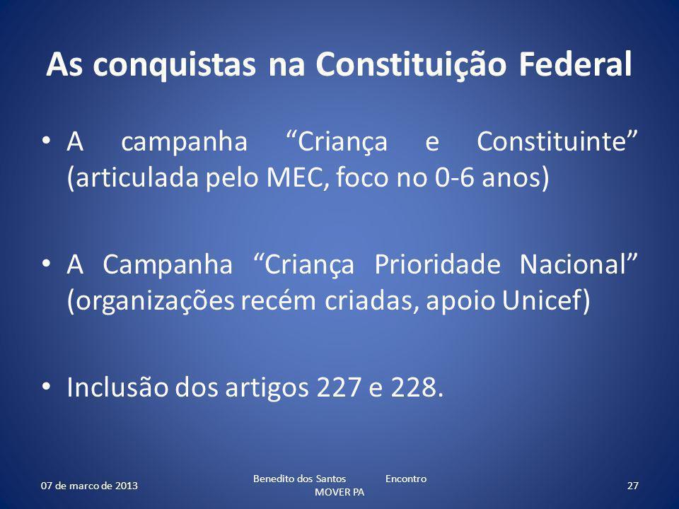 As conquistas na Constituição Federal A campanha Criança e Constituinte (articulada pelo MEC, foco no 0-6 anos) A Campanha Criança Prioridade Nacional (organizações recém criadas, apoio Unicef) Inclusão dos artigos 227 e 228.