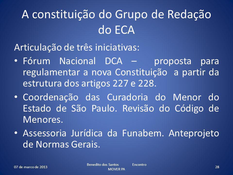 A constituição do Grupo de Redação do ECA Articulação de três iniciativas: Fórum Nacional DCA – proposta para regulamentar a nova Constituição a parti