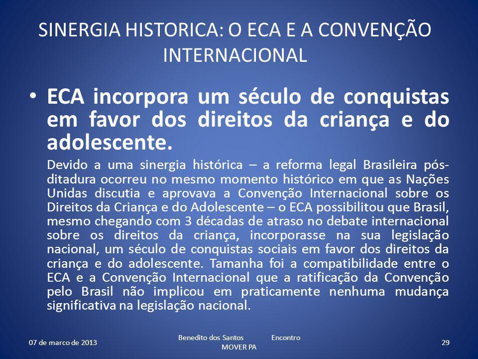 SINERGIA HISTORICA: O ECA E A CONVENÇÃO INTERNACIONAL ECA incorpora um século de conquistas em favor dos direitos da criança e do adolescente. Devido