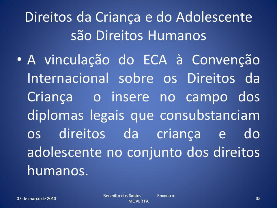 Direitos da Criança e do Adolescente são Direitos Humanos A vinculação do ECA à Convenção Internacional sobre os Direitos da Criança o insere no campo dos diplomas legais que consubstanciam os direitos da criança e do adolescente no conjunto dos direitos humanos.