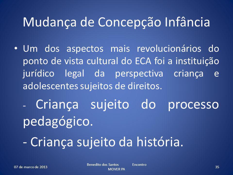 Mudança de Concepção Infância Um dos aspectos mais revolucionários do ponto de vista cultural do ECA foi a instituição jurídico legal da perspectiva criança e adolescentes sujeitos de direitos.