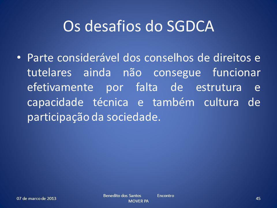 Os desafios do SGDCA Parte considerável dos conselhos de direitos e tutelares ainda não consegue funcionar efetivamente por falta de estrutura e capacidade técnica e também cultura de participação da sociedade.