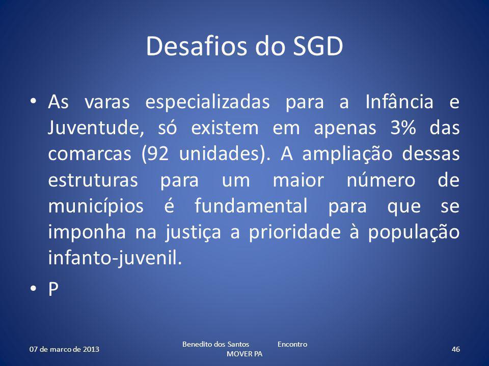 Desafios do SGD As varas especializadas para a Infância e Juventude, só existem em apenas 3% das comarcas (92 unidades). A ampliação dessas estruturas