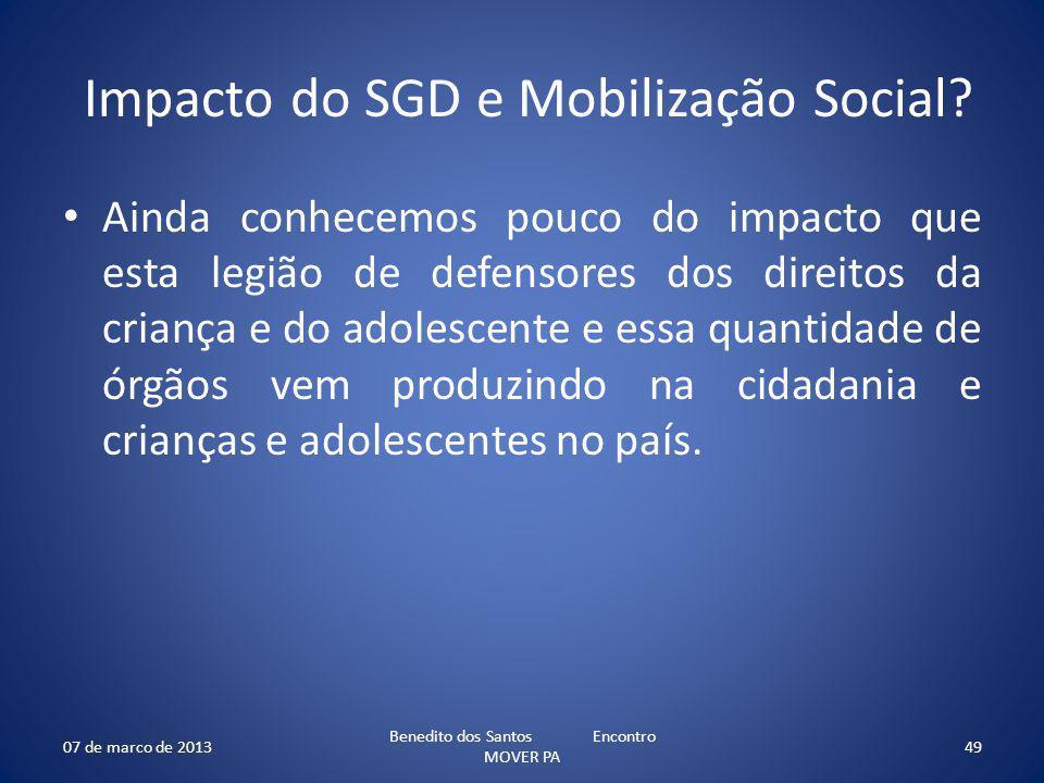 Impacto do SGD e Mobilização Social? Ainda conhecemos pouco do impacto que esta legião de defensores dos direitos da criança e do adolescente e essa q