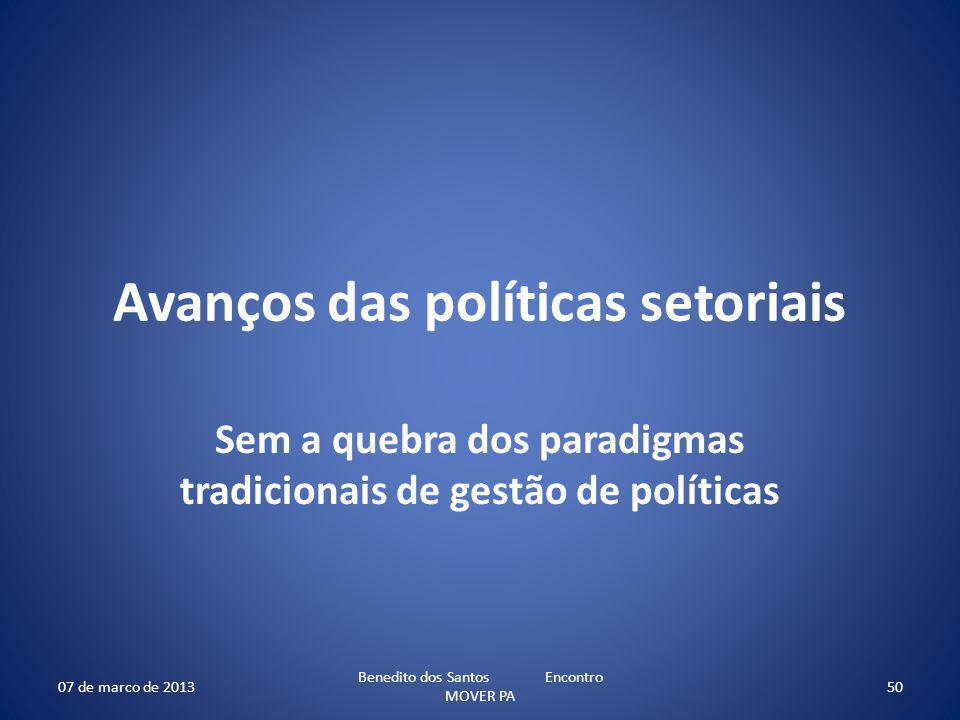 Avanços das políticas setoriais Sem a quebra dos paradigmas tradicionais de gestão de políticas 07 de marco de 2013 Benedito dos Santos Encontro MOVER