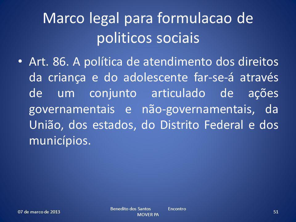 Marco legal para formulacao de politicos sociais Art. 86. A política de atendimento dos direitos da criança e do adolescente far-se-á através de um co