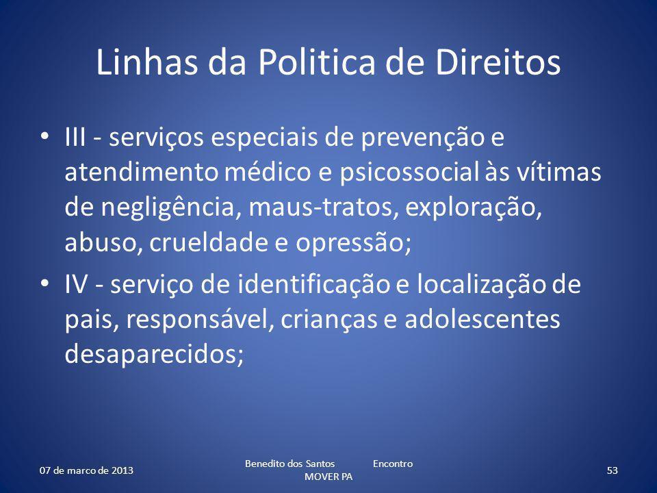 Linhas da Politica de Direitos III - serviços especiais de prevenção e atendimento médico e psicossocial às vítimas de negligência, maus-tratos, explo