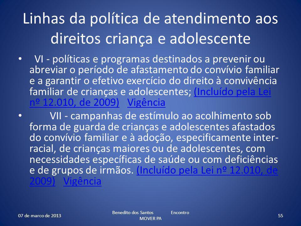 Linhas da política de atendimento aos direitos criança e adolescente VI - políticas e programas destinados a prevenir ou abreviar o período de afastam