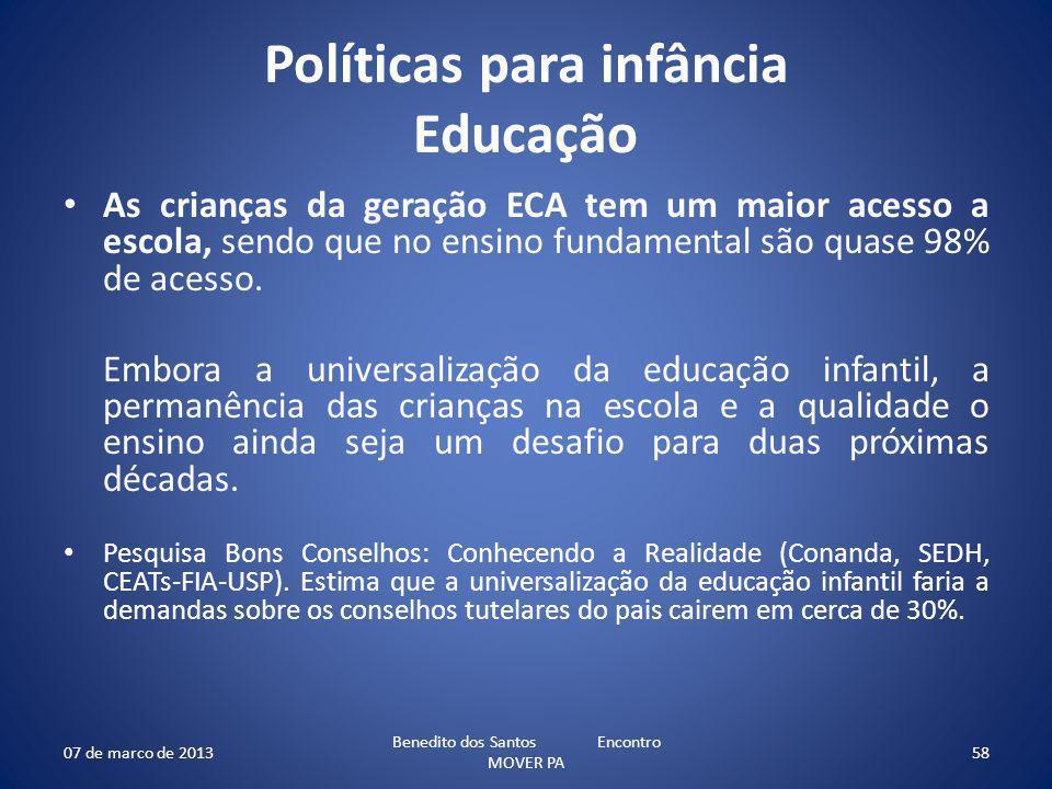 Políticas para infância Educação As crianças da geração ECA tem um maior acesso a escola, sendo que no ensino fundamental são quase 98% de acesso. Emb