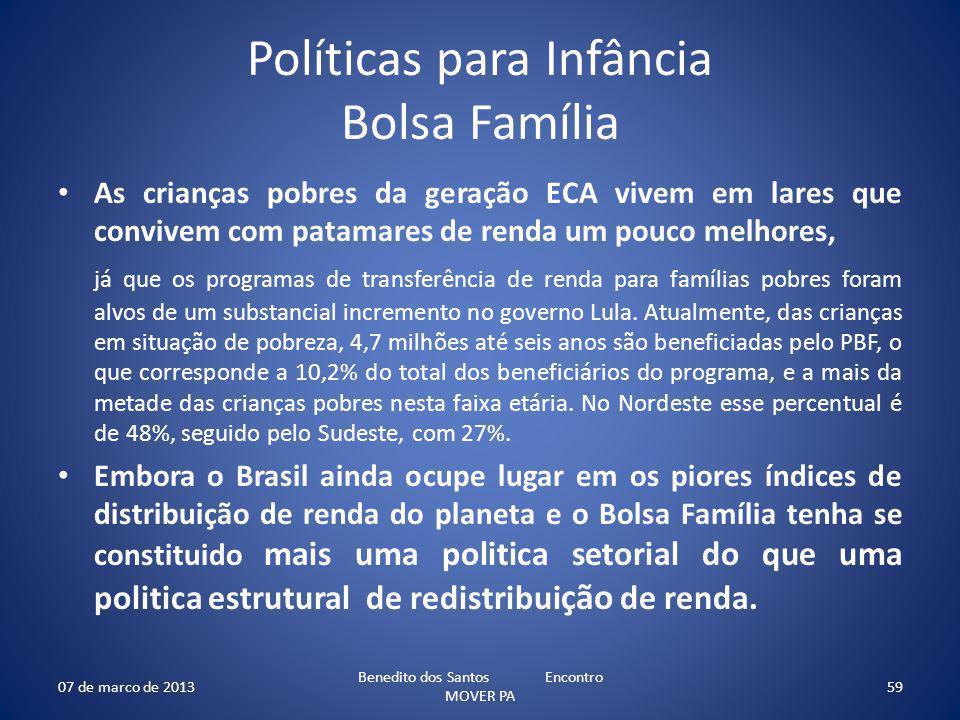 Políticas para Infância Bolsa Família As crianças pobres da geração ECA vivem em lares que convivem com patamares de renda um pouco melhores, já que os programas de transferência de renda para famílias pobres foram alvos de um substancial incremento no governo Lula.