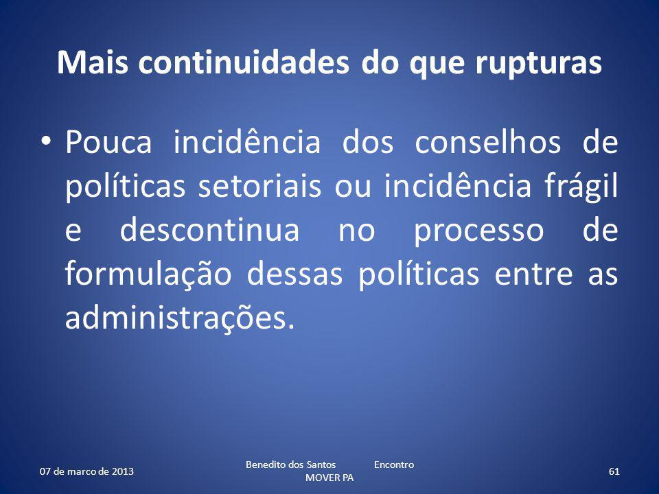 Mais continuidades do que rupturas Pouca incidência dos conselhos de políticas setoriais ou incidência frágil e descontinua no processo de formulação dessas políticas entre as administrações.