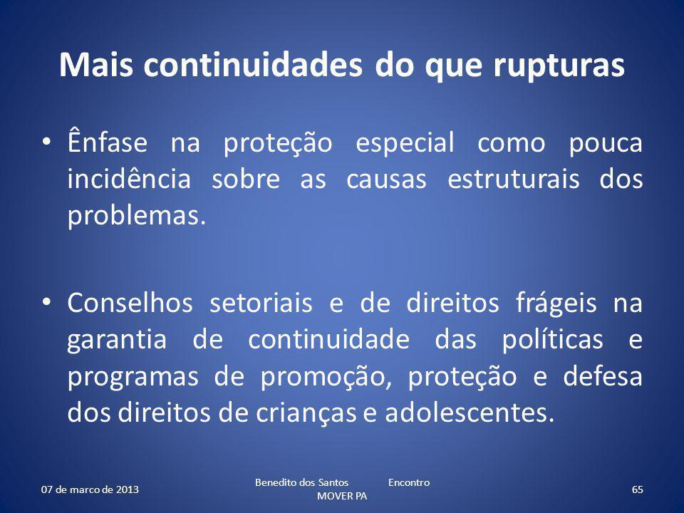 Mais continuidades do que rupturas Ênfase na proteção especial como pouca incidência sobre as causas estruturais dos problemas. Conselhos setoriais e
