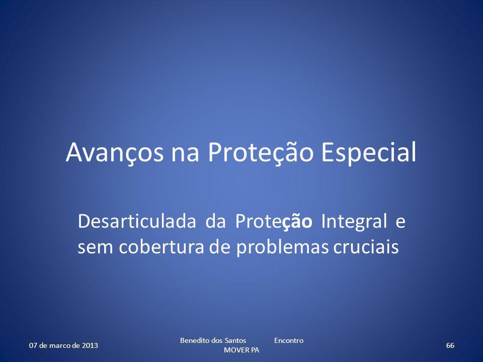 Avanços na Proteção Especial Desarticulada da Proteção Integral e sem cobertura de problemas cruciais 07 de marco de 2013 Benedito dos Santos Encontro