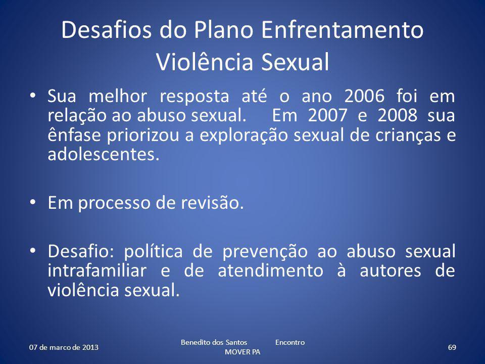 Desafios do Plano Enfrentamento Violência Sexual Sua melhor resposta até o ano 2006 foi em relação ao abuso sexual. Em 2007 e 2008 sua ênfase priorizo