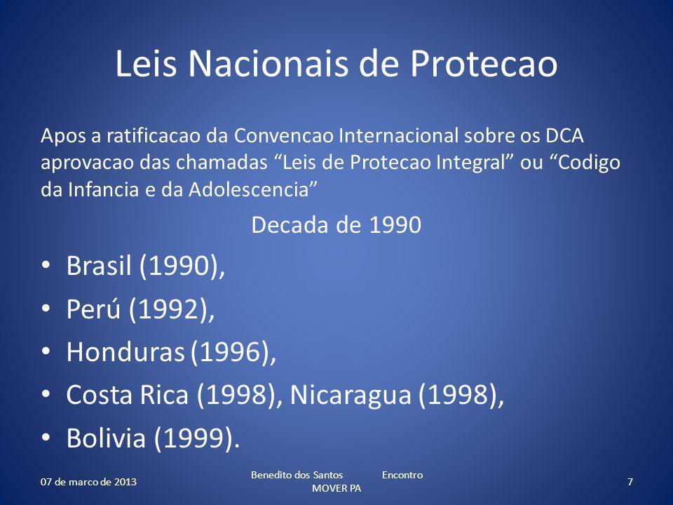 Leis Nacionais de Protecao Apos a ratificacao da Convencao Internacional sobre os DCA aprovacao das chamadas Leis de Protecao Integral ou Codigo da Infancia e da Adolescencia Decada de 1990 Brasil (1990), Perú (1992), Honduras (1996), Costa Rica (1998), Nicaragua (1998), Bolivia (1999).