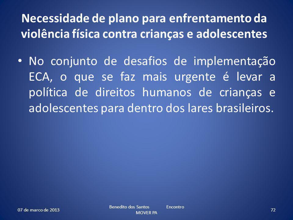 Necessidade de plano para enfrentamento da violência física contra crianças e adolescentes No conjunto de desafios de implementação ECA, o que se faz mais urgente é levar a política de direitos humanos de crianças e adolescentes para dentro dos lares brasileiros.