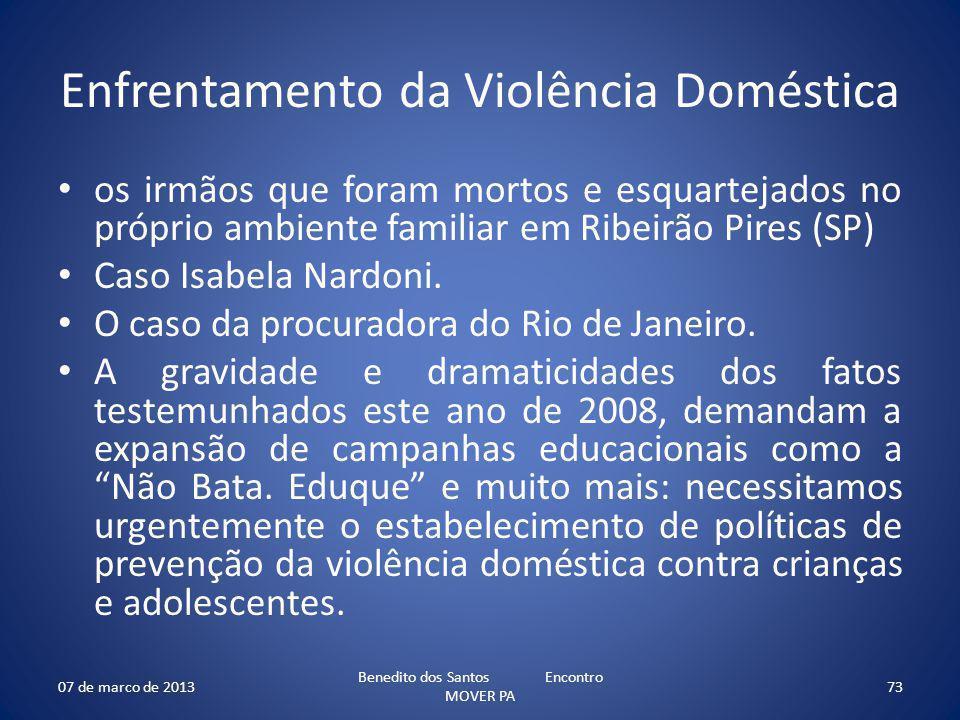 Enfrentamento da Violência Doméstica os irmãos que foram mortos e esquartejados no próprio ambiente familiar em Ribeirão Pires (SP) Caso Isabela Nardoni.