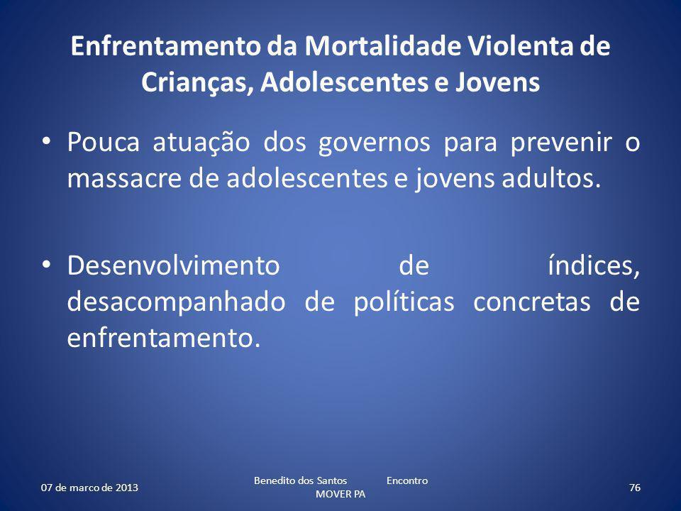Enfrentamento da Mortalidade Violenta de Crianças, Adolescentes e Jovens Pouca atuação dos governos para prevenir o massacre de adolescentes e jovens adultos.