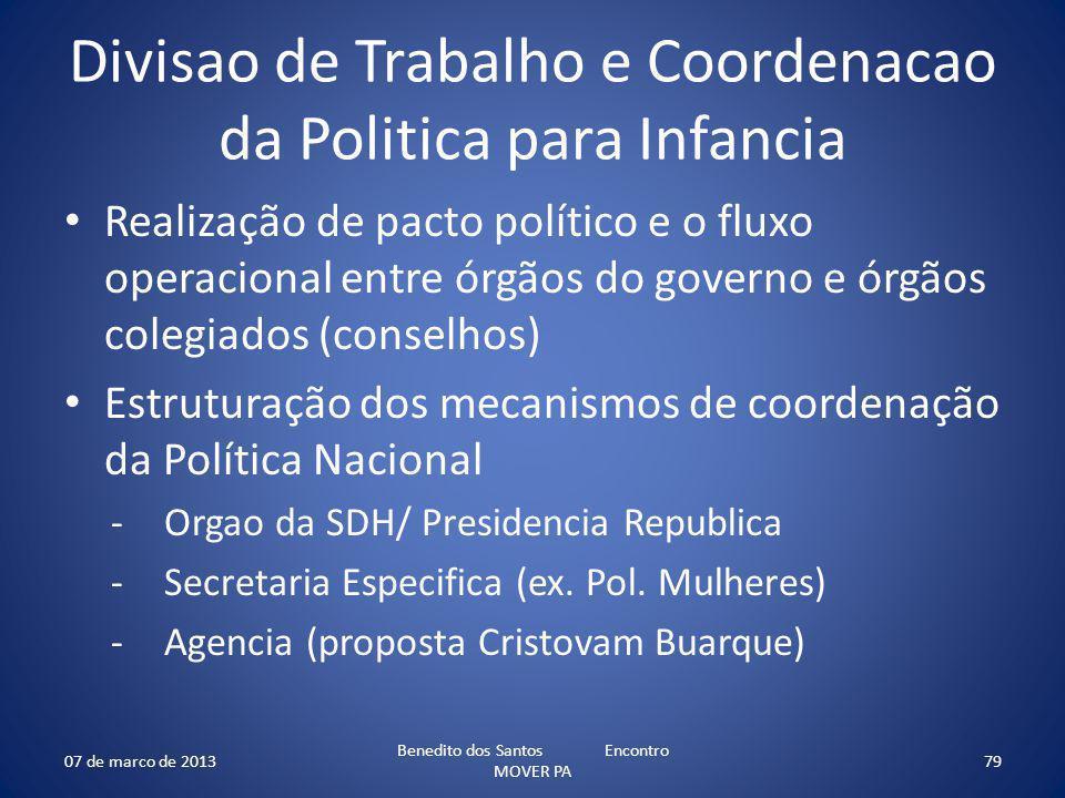 Divisao de Trabalho e Coordenacao da Politica para Infancia Realização de pacto político e o fluxo operacional entre órgãos do governo e órgãos colegi