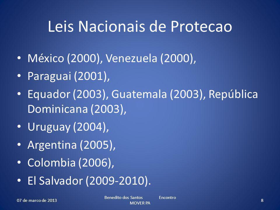Leis Nacionais de Protecao México (2000), Venezuela (2000), Paraguai (2001), Equador (2003), Guatemala (2003), República Dominicana (2003), Uruguay (2