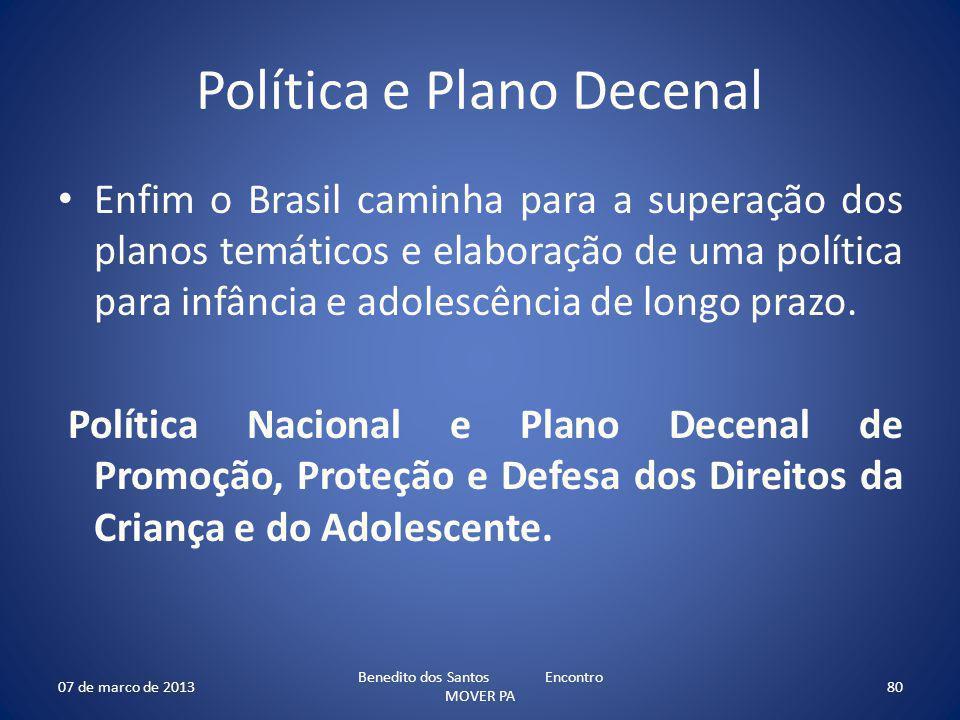 Política e Plano Decenal Enfim o Brasil caminha para a superação dos planos temáticos e elaboração de uma política para infância e adolescência de longo prazo.