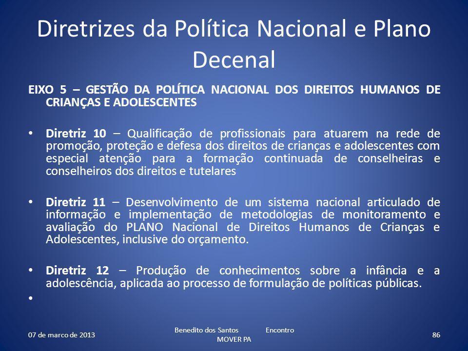 Diretrizes da Política Nacional e Plano Decenal EIXO 5 – GESTÃO DA POLÍTICA NACIONAL DOS DIREITOS HUMANOS DE CRIANÇAS E ADOLESCENTES Diretriz 10 – Qua