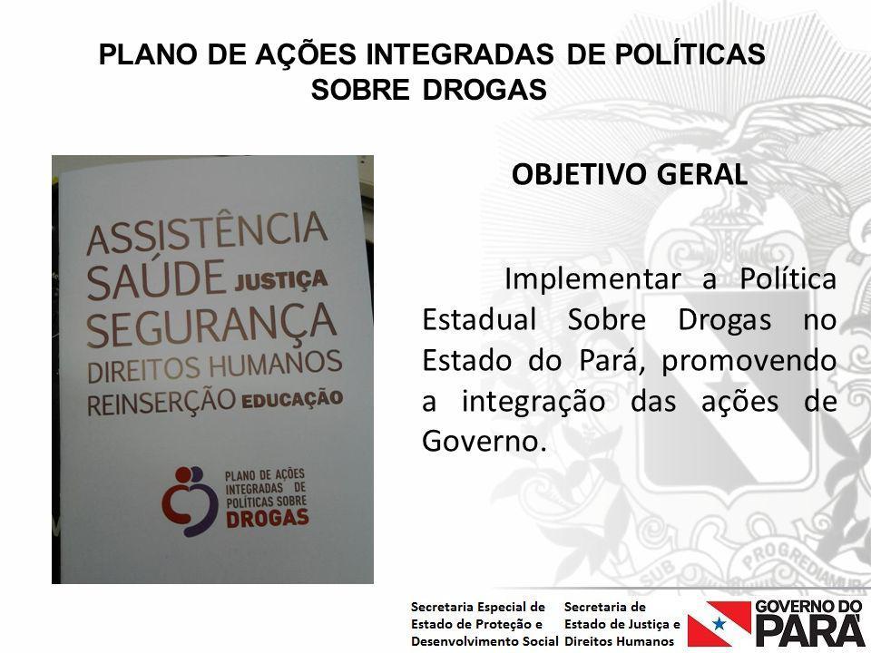 Nome da Secretaria Especial.... Nome do Órgão ou Entidade vinculada PLANO DE AÇÕES INTEGRADAS DE POLÍTICAS SOBRE DROGAS OBJETIVO GERAL Implementar a P