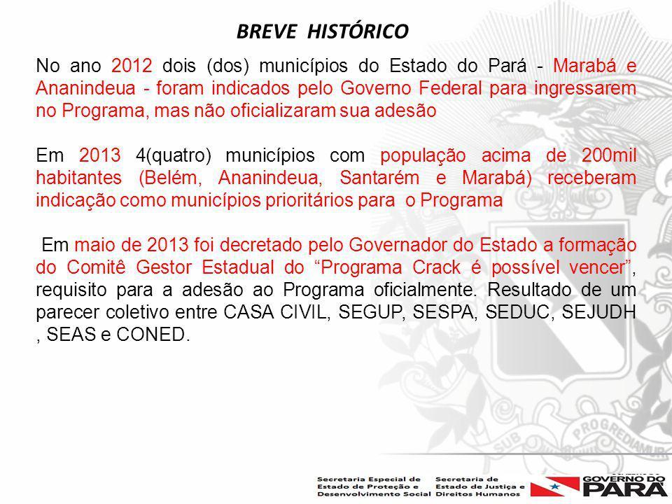 Nome da Secretaria Especial.... Nome do Órgão ou Entidade vinculada No ano 2012 dois (dos) municípios do Estado do Pará - Marabá e Ananindeua - foram