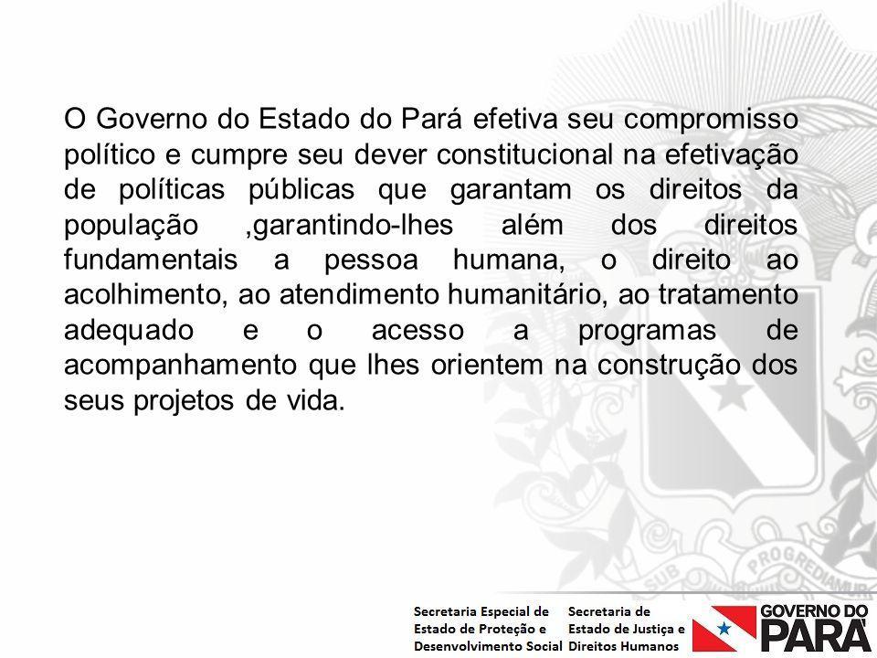 Nome da Secretaria Especial.... Nome do Órgão ou Entidade vinculada O Governo do Estado do Pará efetiva seu compromisso político e cumpre seu dever co